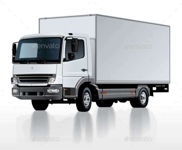 Vector Delivery Cargo Truck Template Isolated - Man-made Objects Objects