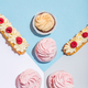 Sweet cakes on pastel background in a composition. - PhotoDune Item for Sale