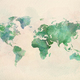 Watercolor vintage world map in green colors - PhotoDune Item for Sale