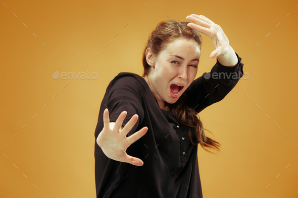 Portrait of the scared woman - Stock Photo - Images