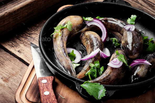 Raw fish in the pan - Stock Photo - Images