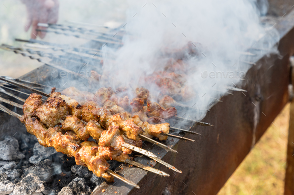 delicious food of xinjiang roast lamb kebabs, outdoor barbecue - Stock Photo - Images
