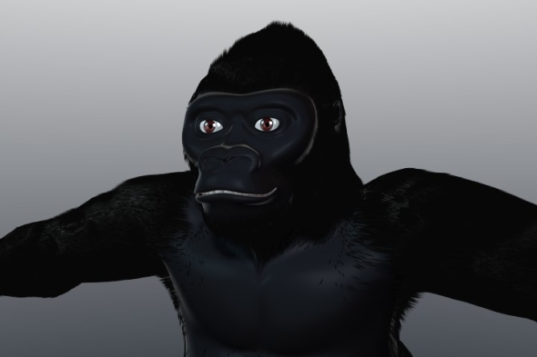 Gorilla with hair particles - 3DOcean Item for Sale