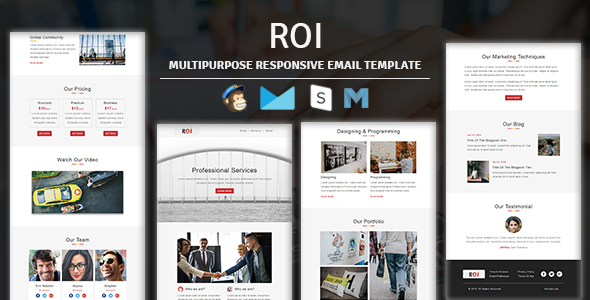 Roi - Multipurpose Responsive Email Template With Online Stampready Builder & Mailchimp Editor - Newsletters Email Templates