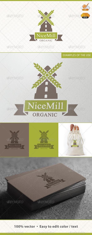 Nice Mill Bakery Logo Template - Food Logo Templates