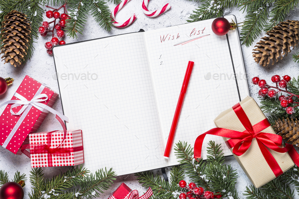 Wish list for christmas with christmas decorations - Stock Photo - Images