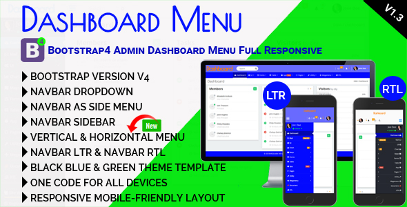 Dashboard Menu - Bootstrap4 Admin Dashboard Menu Full Responsive - CodeCanyon Item for Sale