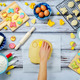 Woman's hand with Sugar dough and ingredients for baking - PhotoDune Item for Sale