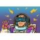Astronaut in Virtual Reality VR Glasses - GraphicRiver Item for Sale