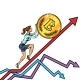 Woman Businesswoman Roll a Bitcoin Coin Up - GraphicRiver Item for Sale