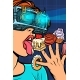Woman in Virtual Reality Glasses Eating Sweets - GraphicRiver Item for Sale