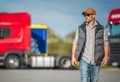 Trucker and the Truck Stop - PhotoDune Item for Sale