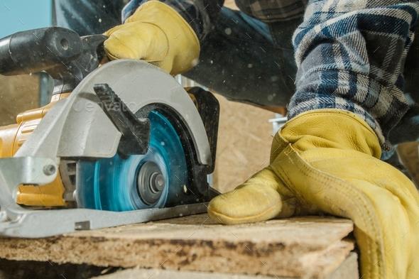 Circular Saw Woodwork Job - Stock Photo - Images