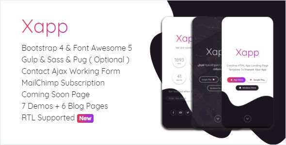Xapp - HTML App Landing Page Template - Technology Site Templates