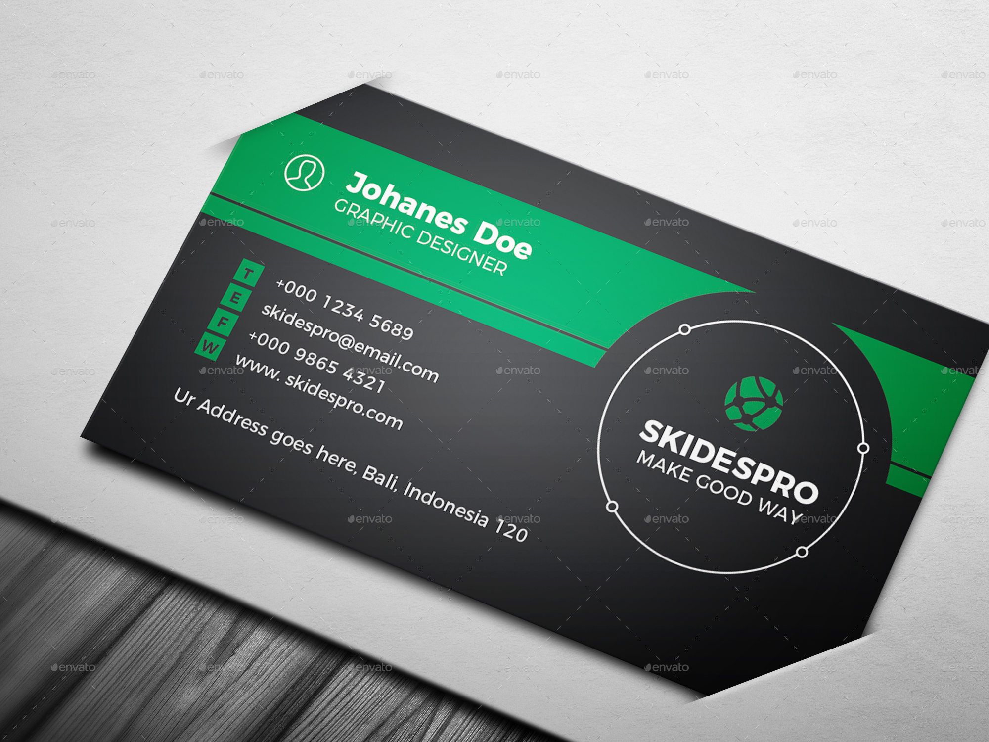 Black Circle Business Card Template