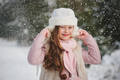 little happy beautiful girl in winter forest - PhotoDune Item for Sale