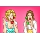 Vector Women Talk on the Phone Excited Housewives - GraphicRiver Item for Sale