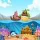 Ocean Scene With Kids On Viking Ship - GraphicRiver Item for Sale