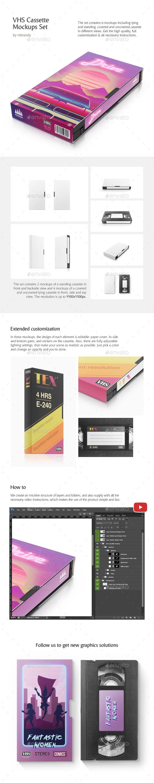 VHS Cassette Mockups Set - Product Mock-Ups Graphics