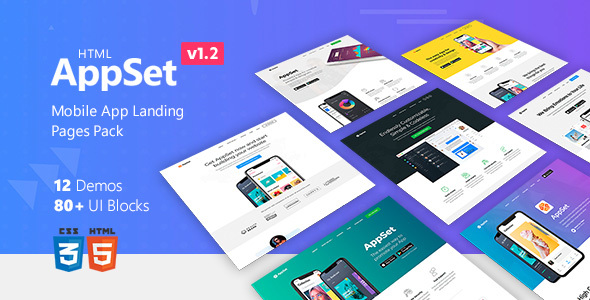AppSet - App Landing Pages Pack - Landing Pages Marketing