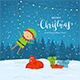 Elf on Snowy Background with Presents and Christmas Lights - GraphicRiver Item for Sale