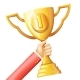 Hand Raises Golden Prize Award Cup Success - GraphicRiver Item for Sale