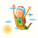 Flat Parachutist  in Action - GraphicRiver Item for Sale