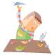 Boy Alone with His Toys - GraphicRiver Item for Sale