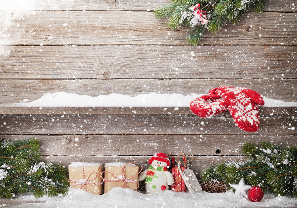 Christmas gift boxes, decor and xmas fir tree - Stock Photo - Images