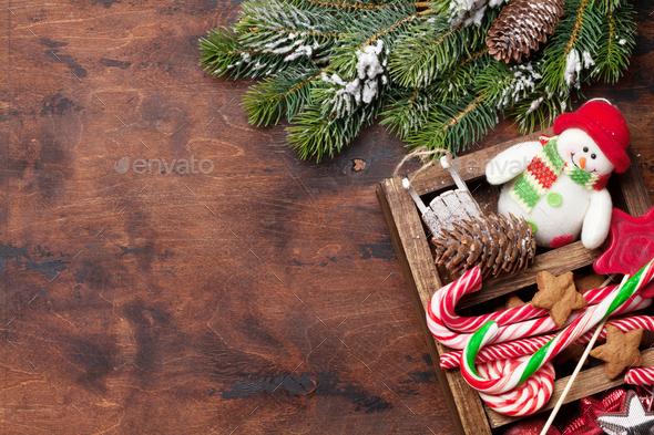 Christmas decor box and fir tree - Stock Photo - Images