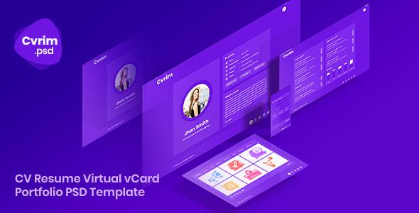 Cvrim - CV Resume Virtual vCard Portfolio PSD Template - Personal PSD Templates