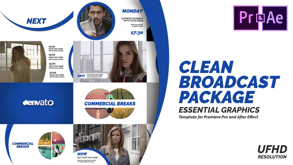 Clean Broadcast Pack | Essential Graphics | Mogrt