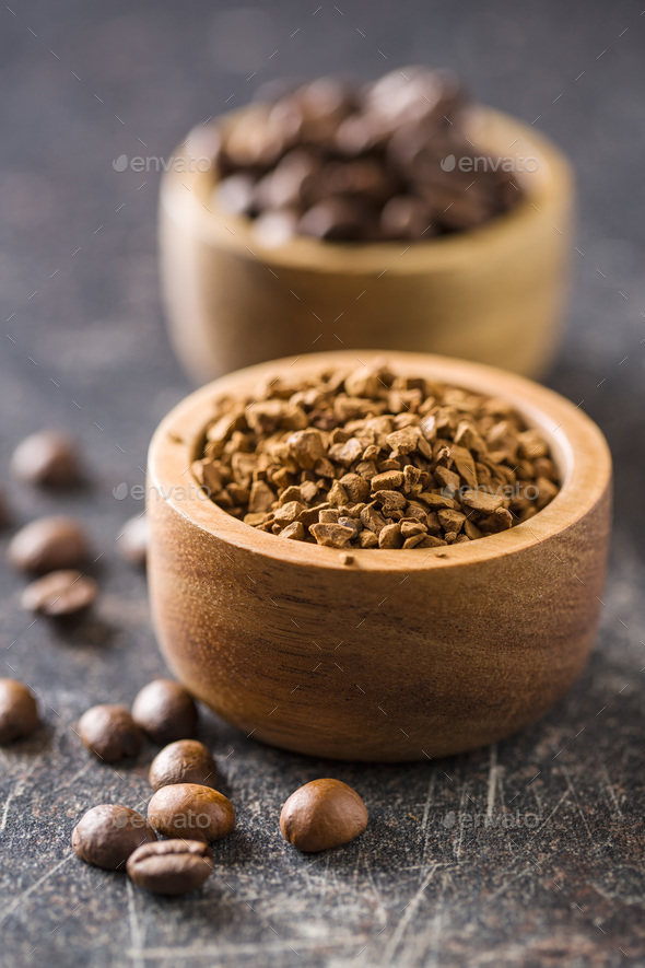 The instant coffee and coffee beans. - Stock Photo - Images