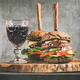 Beef burgers with barbeque sauce and red wine, vertical composition - PhotoDune Item for Sale