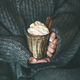 Woman in grey woolen sweater with mug with hot chocolate - PhotoDune Item for Sale