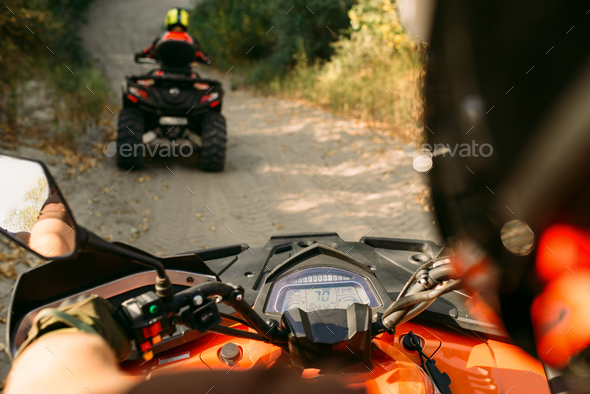Atv riding, view through the eyes of driver - Stock Photo - Images