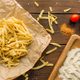 Uncooked pasta on wooden table closeup, nobody - PhotoDune Item for Sale