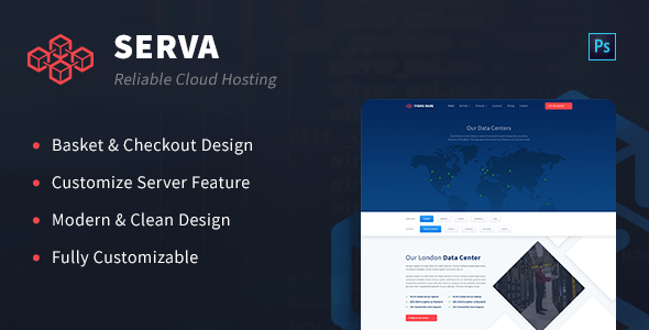 Serva - Cloud Hosting and Server PSD Template - Technology PSD Templates