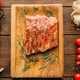 Grilled ribs on wooden table, top view, nobody - PhotoDune Item for Sale