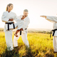 Master teaches karate fighters the correct stand - PhotoDune Item for Sale