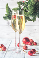 Two glasses of champagne with Christmas tree branch - PhotoDune Item for Sale