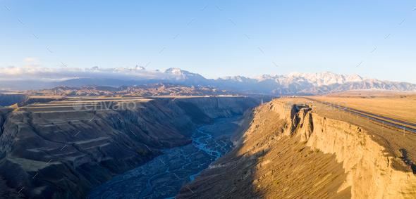 aerial view of anjihai grand canyon - Stock Photo - Images