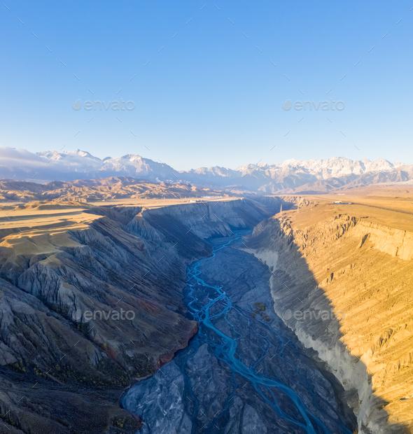 beautiful xinjiang anjihai grand canyon - Stock Photo - Images