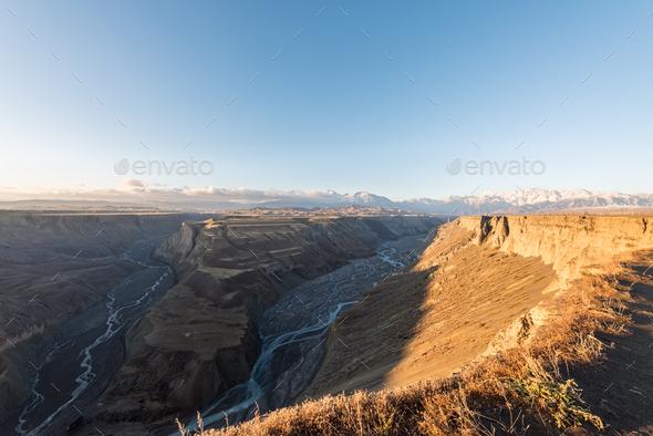 sun shines on the grand canyon, xinjiang - Stock Photo - Images