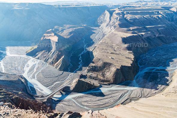 xinjiang anjihai grand canyon in morning - Stock Photo - Images
