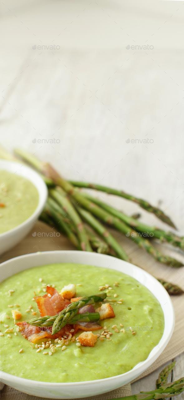Creamy asparagus soup - Stock Photo - Images