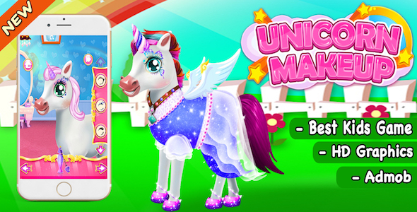 Unicorn Make Up And Salon Game For Kids + Ready For Publish + Admob - CodeCanyon Item for Sale