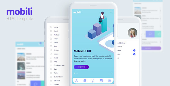 Mobili - HTML Mobile template Free Download | Nulled