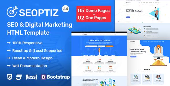 Seoptiz - SEO & Digital Marketing Agency HTML Template Free Download | Nulled