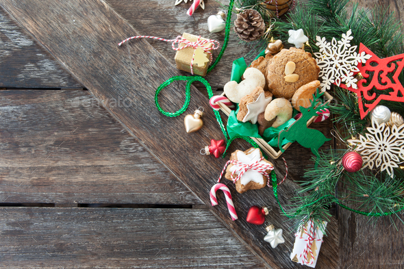 Christmas cookies and decorations - Stock Photo - Images